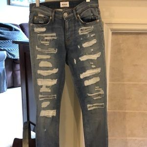 Skinny destruction Hudson patch jeans